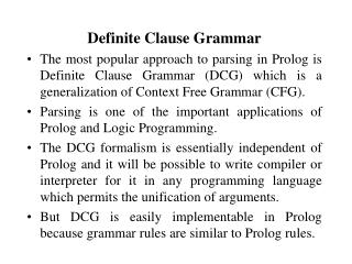 Definite Clause Grammar