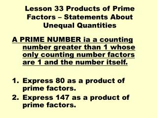 Lesson 33 Products of Prime Factors – Statements About Unequal Quantities