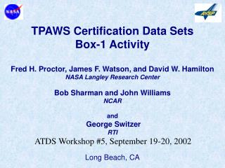 TPAWS Certification Data Sets Box-1 Activity
