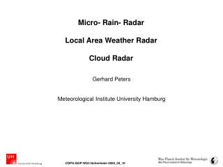 Micro- Rain- Radar Local Area Weather Radar  Cloud Radar