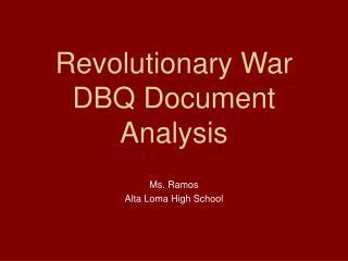 Revolutionary War DBQ Document Analysis