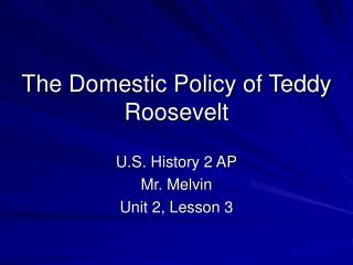 The Domestic Policy of Teddy Roosevelt