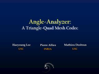 Angle-Analyzer: A Triangle-Quad Mesh Codec