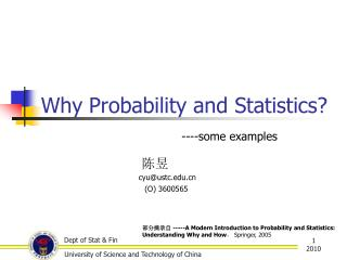 Why Probability and Statistics?