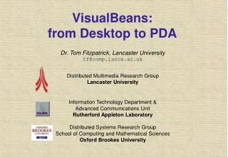 VisualBeans: from Desktop to PDA