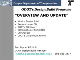 ODOT's Design Build Program