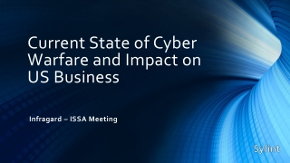 Current State of Cyber Warfare and Impact on US Business