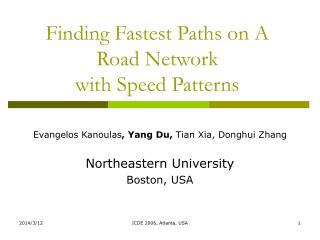 Finding Fastest Paths on A Road Network  with Speed Patterns