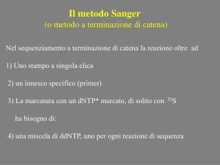 Il metodo Sanger  (o metodo a terminazione di catena)