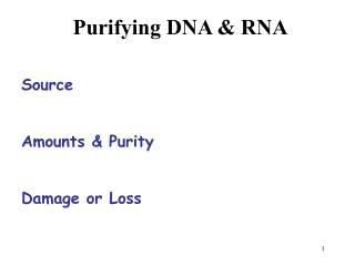Purifying DNA & RNA Source Amounts & Purity Damage or Loss