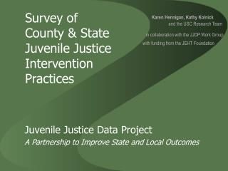 Survey of  County & State Juvenile Justice Intervention Practices