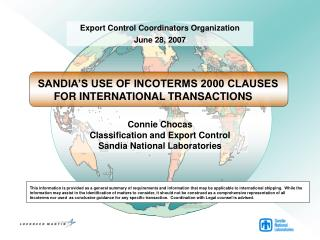 Connie Chocas Classification and Export Control Sandia National Laboratories