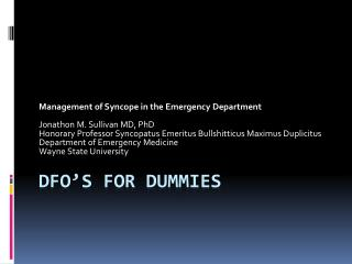 DFO's for dummies