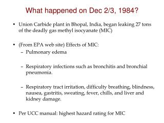 What happened on Dec 2/3, 1984?