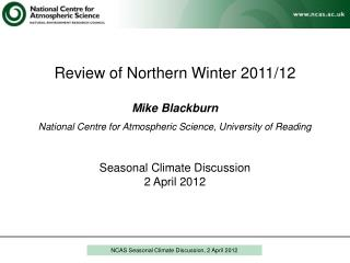 NCAS Seasonal Climate Discussion, 2 April 2012