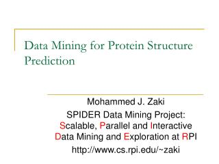 Data Mining for Protein Structure Prediction