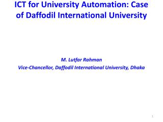 ICT for University Automation: Case of Daffodil International University