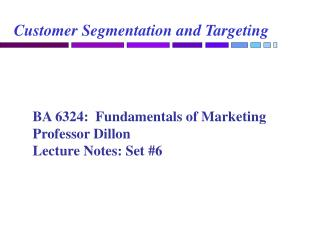 Customer Segmentation and Targeting