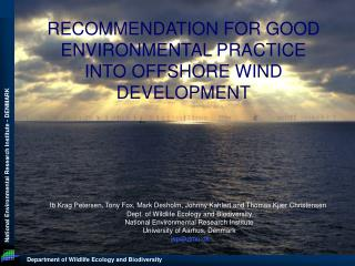 RECOMMENDATION FOR GOOD ENVIRONMENTAL PRACTICE INTO OFFSHORE WIND DEVELOPMENT