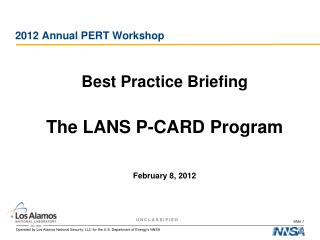2012 Annual PERT Workshop