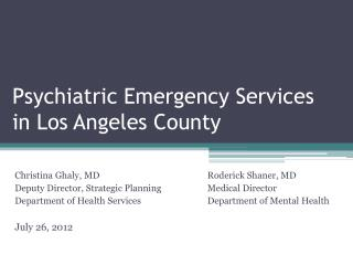 Psychiatric Emergency Services in Los Angeles County
