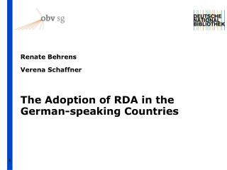 The Adoption of RDA in the German-speaking Countries