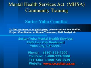 Mental Health Services Act  (MHSA) Community Training