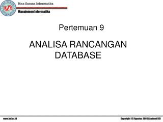 ANALISA RANCANGAN DATABASE