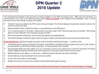 DPN Quarter 2  2010 Update