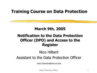 Training Course on Data Protection