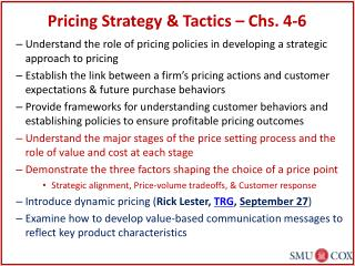 Pricing Strategy & Tactics – Chs. 4-6