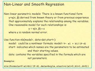 Non-Linear and Smooth Regression
