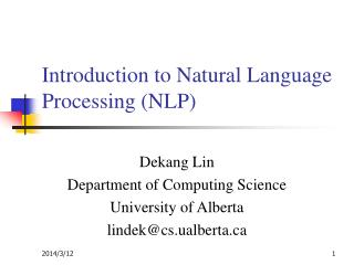 Introduction to Natural Language Processing NLP