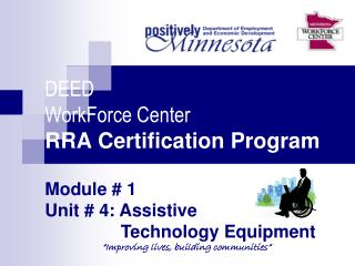 DEED WorkForce Center RRA Certification Program