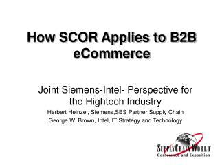 How SCOR Applies to B2B eCommerce