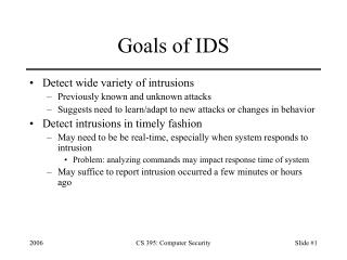 Goals of IDS