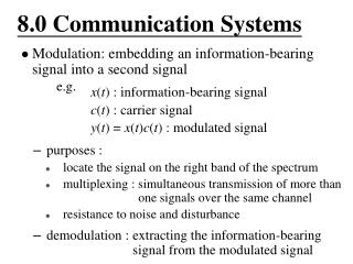 8.0 Communication Systems