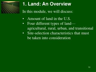 1. Land: An Overview