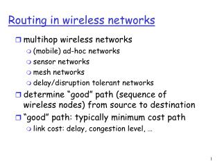 Routing in wireless networks