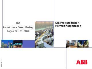 DIS Projects Report Hormoz Kazemzadeh
