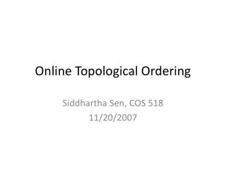 Online Topological Ordering