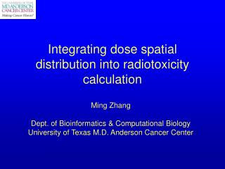Integrating dose spatial distribution into radiotoxicity calculation