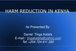 HARM REDUCTION IN KENYA