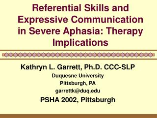 Referential Skills and Expressive Communication in Severe Aphasia: Therapy Implications