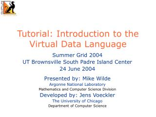Tutorial: Introduction to the Virtual Data Language