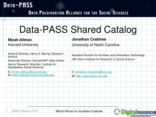 Data-PASS Shared Catalog