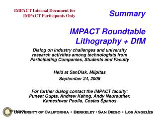 Summary IMPACT Roundtable Lithography + DfM
