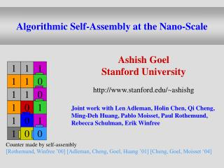Algorithmic Self-Assembly at the Nano-Scale