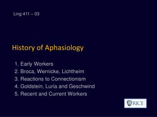 History of Aphasiology
