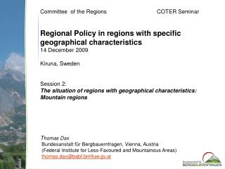 Committee  of the Regions		                 COTER  Seminar